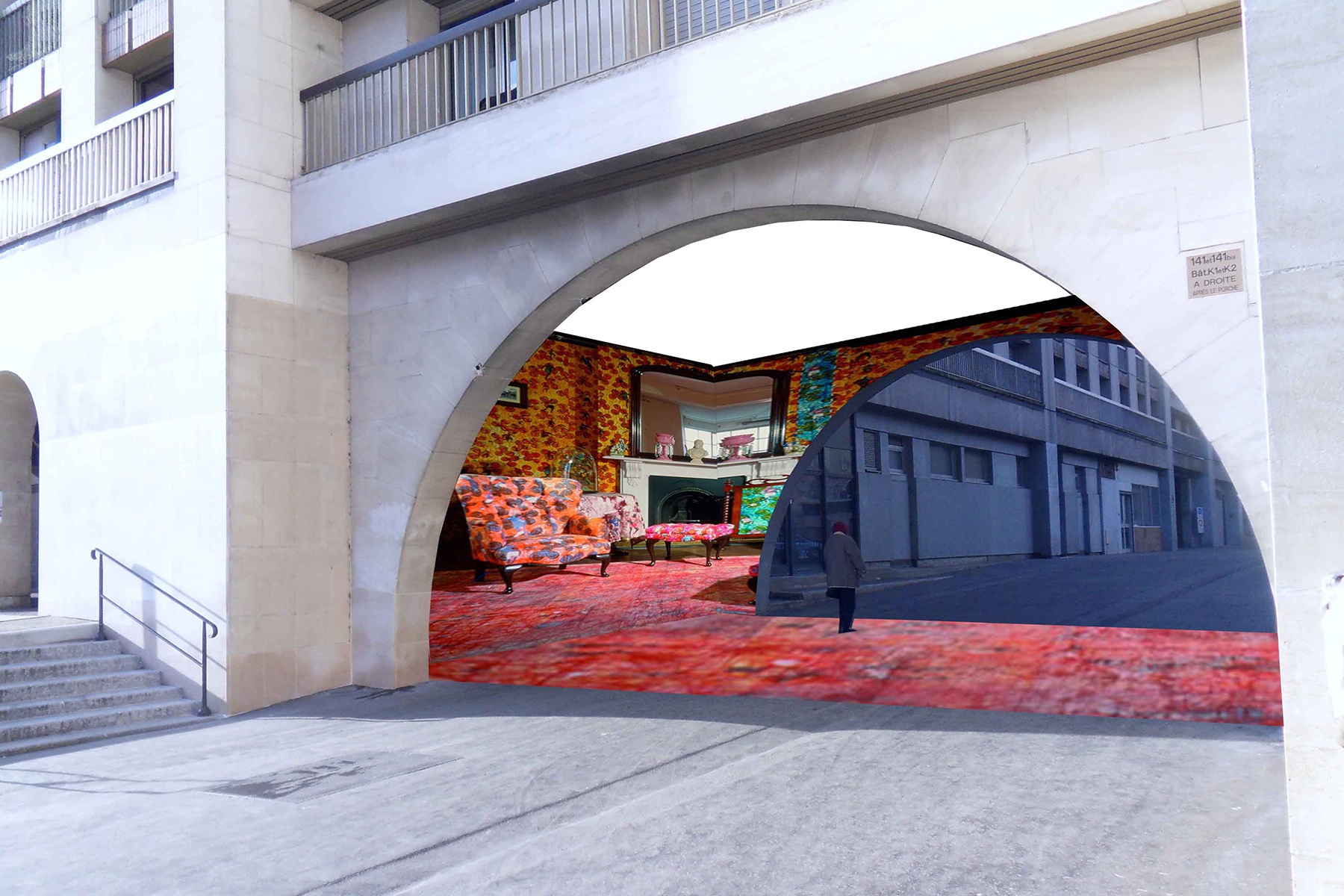cover interieur rue design mobilier urbain dentelle metallique resille